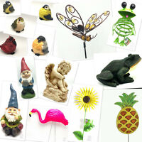 Statues Lawn Ornament Stake Decor Yard Garden Outdoor Resin Metal Glass Figures