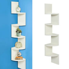 5 Tier Wall Mount Corner Shelves Home Rack Large Zig Zag Furniture Modern White