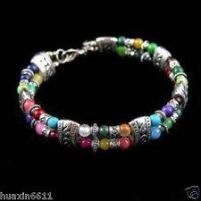 HOT !!!HoT !!!Jewellery Tibet silver multicolor jade turquoise bead bracelet