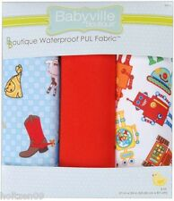 Babyville Boutique COWBOYS & ROBOTS Waterproof PUL Diaper Fabric pkg of 3