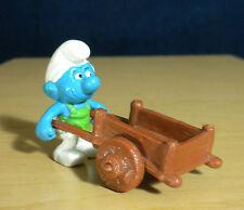 Smurfs 40206 Gardener Super Smurf Wheelbarrow Vintage Figure PVC Toy Figurine