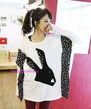 Japan Rabbit Polka Dot Patchwork Oversized Knit Tunic Shirt! White