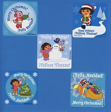 15 Dora the Explorer Christmas Holiday - Winter - Large Stickers - Party Favors