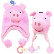 Peppa Pig Face  Beanie Hat Peruvian Knitted 3D Peppea Pig Laplander Hat