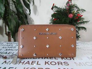 NWT Michael Kors Leather Studded Jet Set Travel LG Flap MF Phone Wallet Wristlet