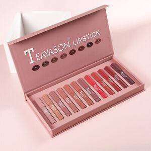 12 Pcs/Set Matte Waterproof Kiss proof Lipstick Crayon 12 Shades Coral Red Pink