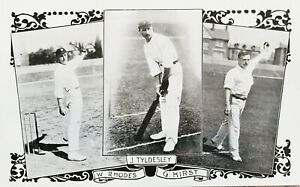 England Cricketers W Rhodes, J Tyldesley, G Hirst. Antique Postcard