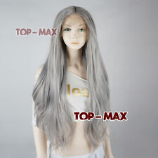 """Long 22"""" Gray/Grey Medium Straight Heat Resistant Women Hair Lace Front Wigs"""