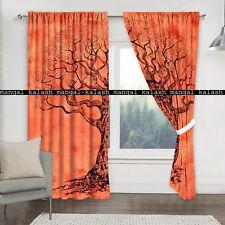 Indien Cotton Orange Mandala Curtains Window Door Cover Hanging Drape Valances