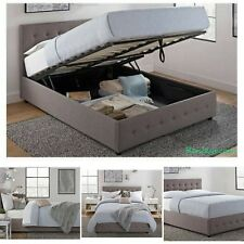 Queen Size Bed Frame With Shoe Storage Tufted Headboard Gray Linen Platform Grey