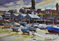 Jeremy Sanders Original Oil Painting - Penzance Harbour Cornwall (Cornish Art)