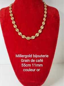 Collier chaîne bijou gros maillon grain de café Acier inoxydable doré or 11 mm