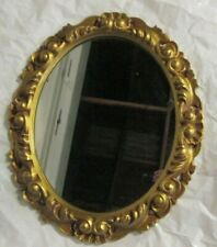 """Vintage Gold Oval Wall Mirror Syroco heavy thick Plastic 25"""" x 21"""""""