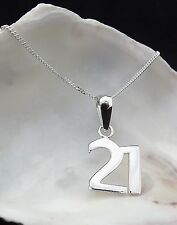 Sterling Silver 925 Jewellery 21st Birthday Gift Pendant 18 Inch Chain Necklace