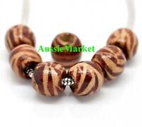 50 x wooden wood beads 12mm x 11mm zebra tiger stripe large big hole brown beige