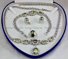Charming! Peridot Inlay Link Bracelet Earrings Ring Pendant Necklace Set AAA+