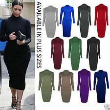 Women Ladies Roll Turtle Polo Neck Long Sleeve Plain Stretch Bodycon Midi Dress