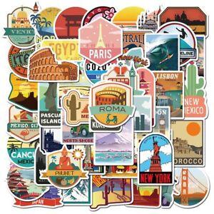 50 World Travel Country Region Logo Stickers Skateboard Luggage Laptop Decal UK