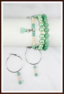 Sommer Schmuckset  Armband Edelstein Perlen Ohrringe Silber grün Geschenk