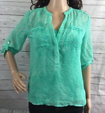 Semi-Sheer Teal Blouse Petite XS Abstract Animal Print 3/4 Rolled Sleeve Shirt
