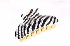 Brand New Black and White Zebra Hair Clip Claw w/Austrian Clear Crystals