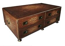 STYLISH ENGLISH REGENCY STYLE ANTIQUED EMBOSSED LEATHER LIBRARY COFFEE TABLE