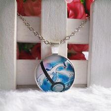 Lugia Legendary Pokemon Pendant Tibet silver Cabochon Glass Chain Necklace