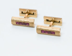 Vintage Cartier 14K Yellow Gold & Ruby Cufflinks