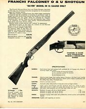 1972 Print Ad of Franchi 12ga Falconet O&U Silver Model Shotgun