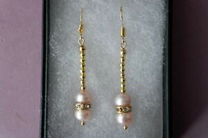 Beautiful Gold Plated Earrings With AAA Pearls & Cz 3.3 Gr 3.9 Cm. Long + Hooks