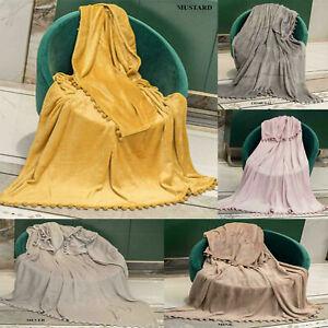 Pom Pom Design Stylish Blankets Warm Sofa Bed Home Travel Throws
