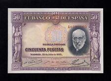 F.C. 50 PESETAS 1935 , SERIE A , S/C- , CON TODO SU APRESTO .