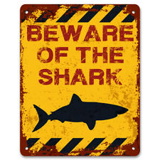 Beware Of The Shark | Funny Vintage Metal Garden Warning Sign | Swimming Pool