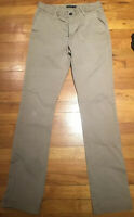 Men's Zara Man Basic Beige Khaki Flat Front Straight 30 x 32 Pants Cotton Blend
