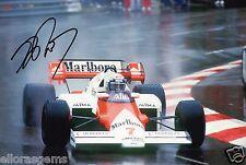 """F1 Driver FORMULA UNO ALAIN PROST firmato a mano foto McLaren 12x8"""" BH"""