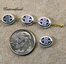Small Celtic Oval Endless Beads, 9mm, TierraCast, Antiqued Silver, 4 Pcs, 4112