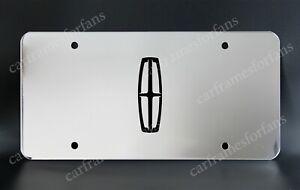 """LINCOLN"" License Plate, Custom Made of Chrome Plated Metal - Black Logo"