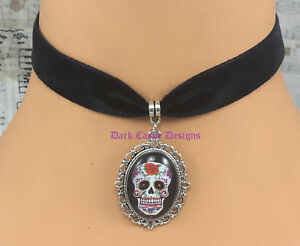 Goth Black Velvet Leather Choker Necklace Day of the Dead Mexican Sugar Skull