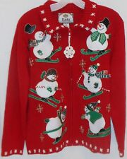 Red Snowman Ugly Christmas Party Sweater Cardigan Tiara International Med NICE