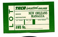 Vintage Luggage Label TACA AIRLINES freight Lot New Orleans Managua
