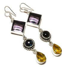 Amethyst, Citrine, Dichroic Glass Gemstone silver plated Handmade Dangle Earring