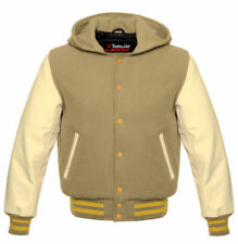 Baseball Jacket College HOODIE in wool with hood and cowhide arms ln