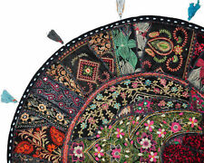 "Black XL 32"" Big Round Floor Pillow Cushion round seating Bohemian Patchwork"
