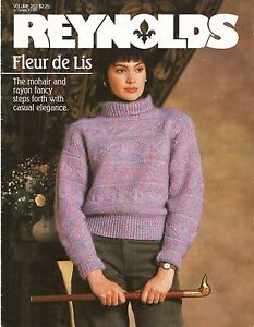 Reynolds Fleur de Lis Women's Sweater Patterns Knitting #253 1986 5 Designs