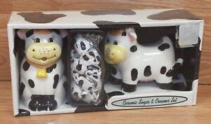 Unbranded Cow Animal / Print  Ceramic Sugar & Cream Set **NEW IN BOX - READ**