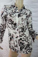 SABA mauve white 100% silk long sleeve blouse size 4 BNWT