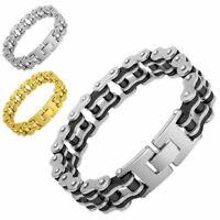 Armband Biker Kette Motorradkette Herrenarmband Edelstahl silber schwarz gold