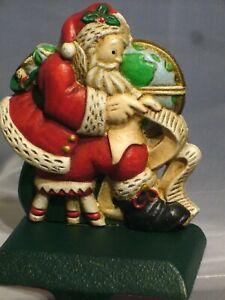 VINTAGE MIDWEST CAST IRON SANTA WITH LIST GLOBE CHRISTMAS STOCKING HANGER HOLDER
