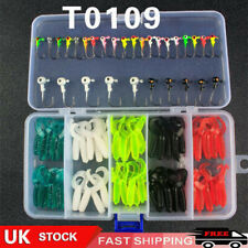 80Pcs Fishing Soft Bait Lures Set Grub Worm Baits Jig Heads Perch Tackle UK