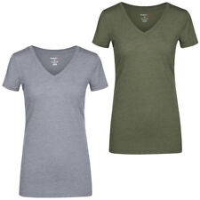 Reebok Global Blank V-Neck Damen Fitness T-Shirt Training Sport Joggen Yoga Tee